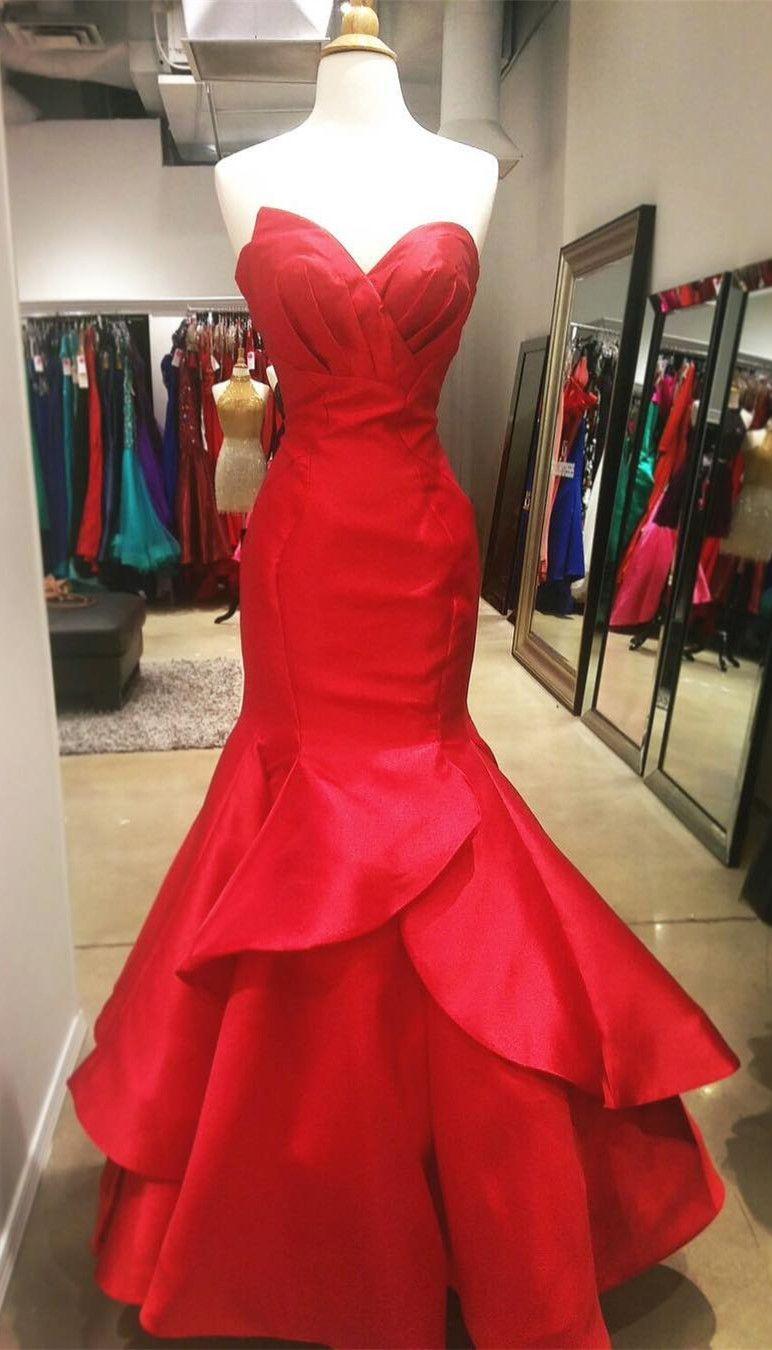 Elegant sweetheart mermaid red long prom dress evening dress