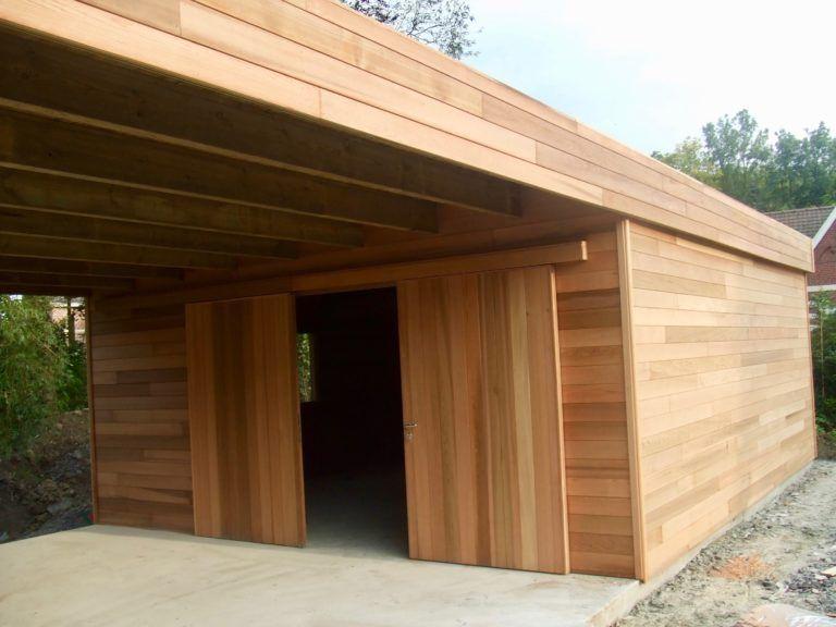 abri voiture diy garage bois toit plat