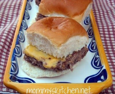 Homemade White Castle Sliders. So good! Even my super pickey eater ate these.