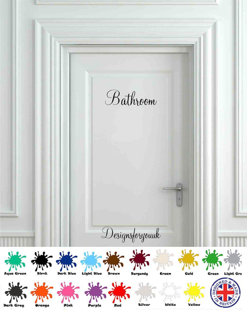 Bathroom door wall art decal vinyl sign sticker toilet wc pub