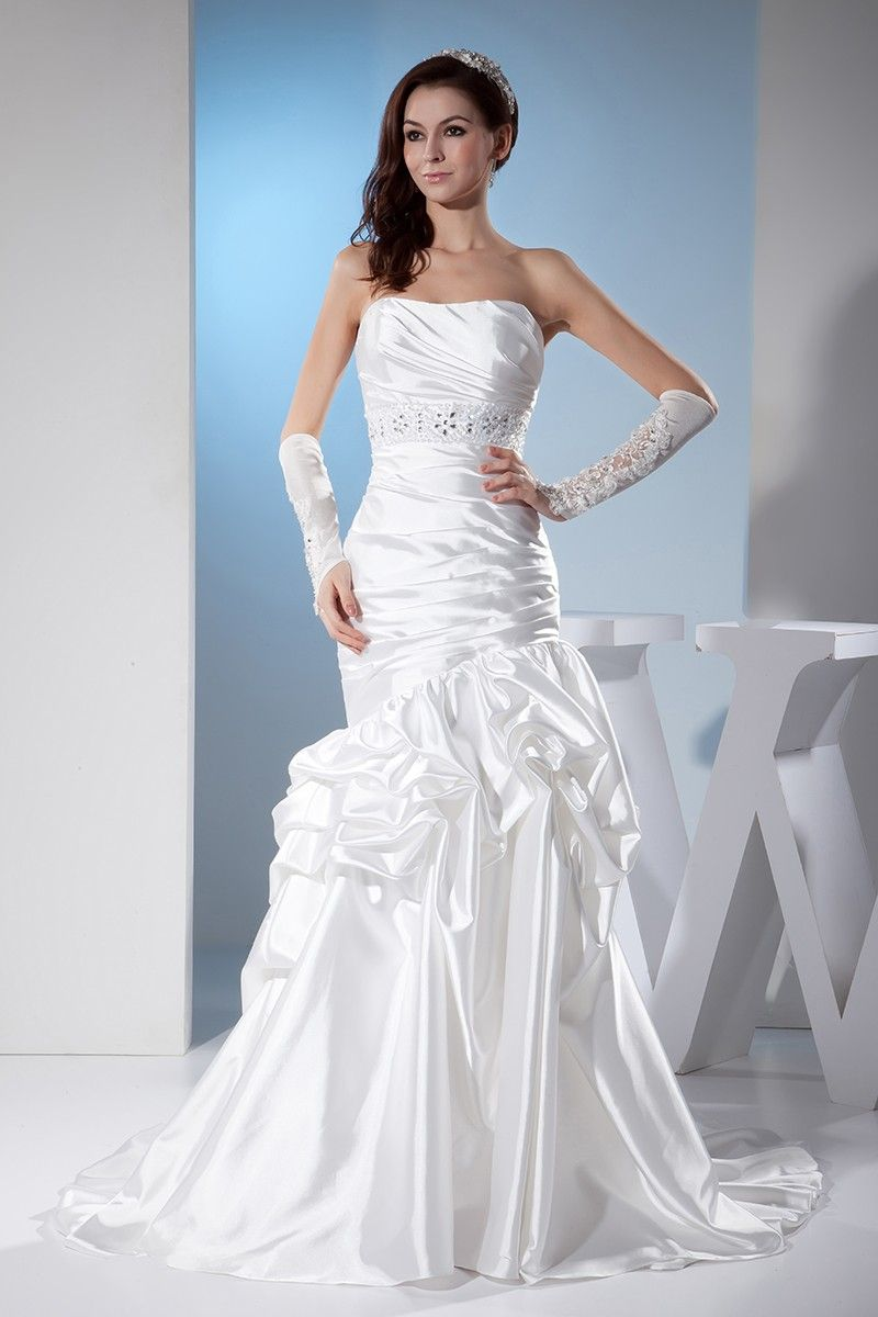 Best type of dress to wear to a wedding  White Sleek Satin Pleated Wedding Dress Ruffled OPH