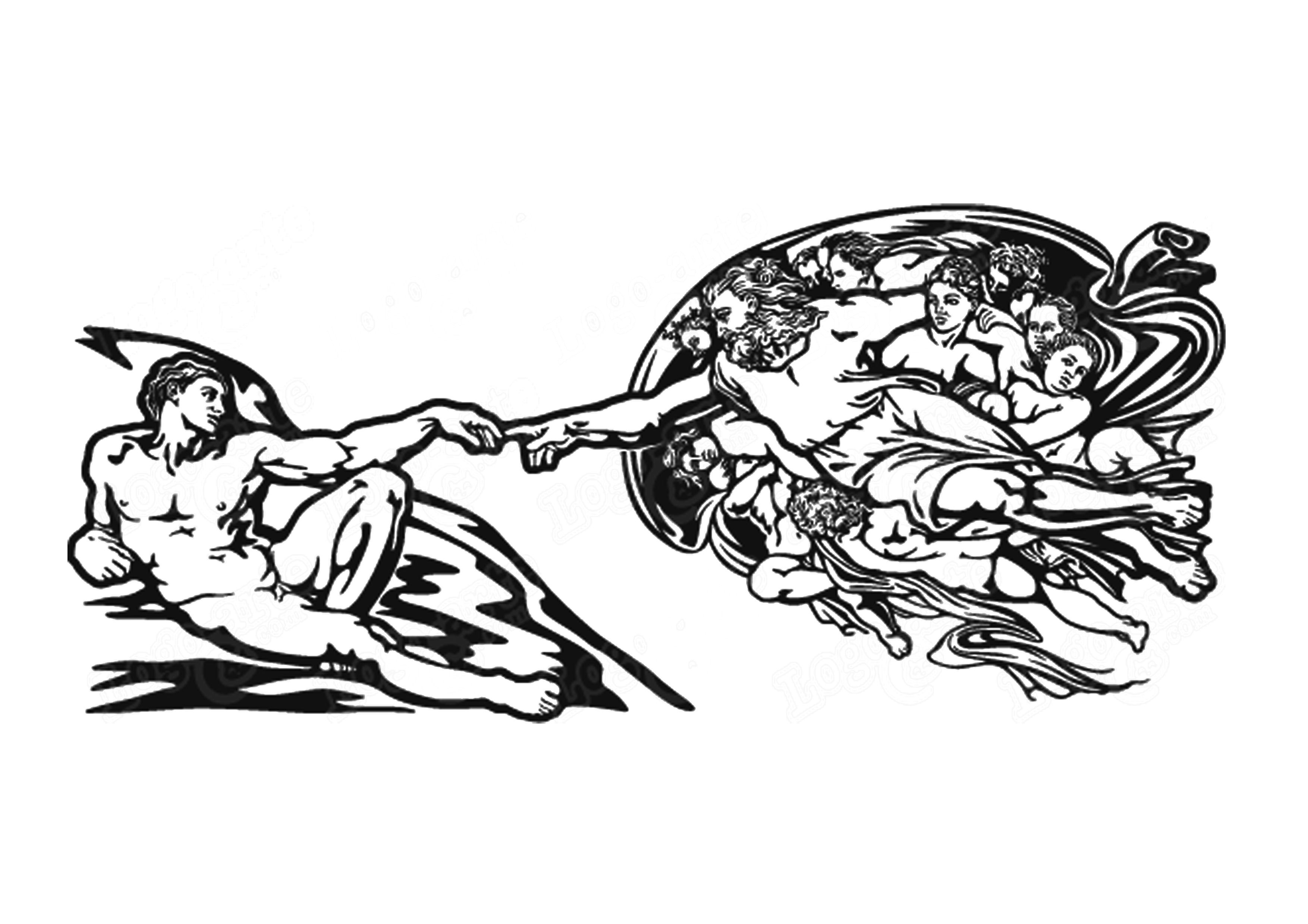 Creación de Adán. Miguel Ángel | Para colorear e ilustrar ...
