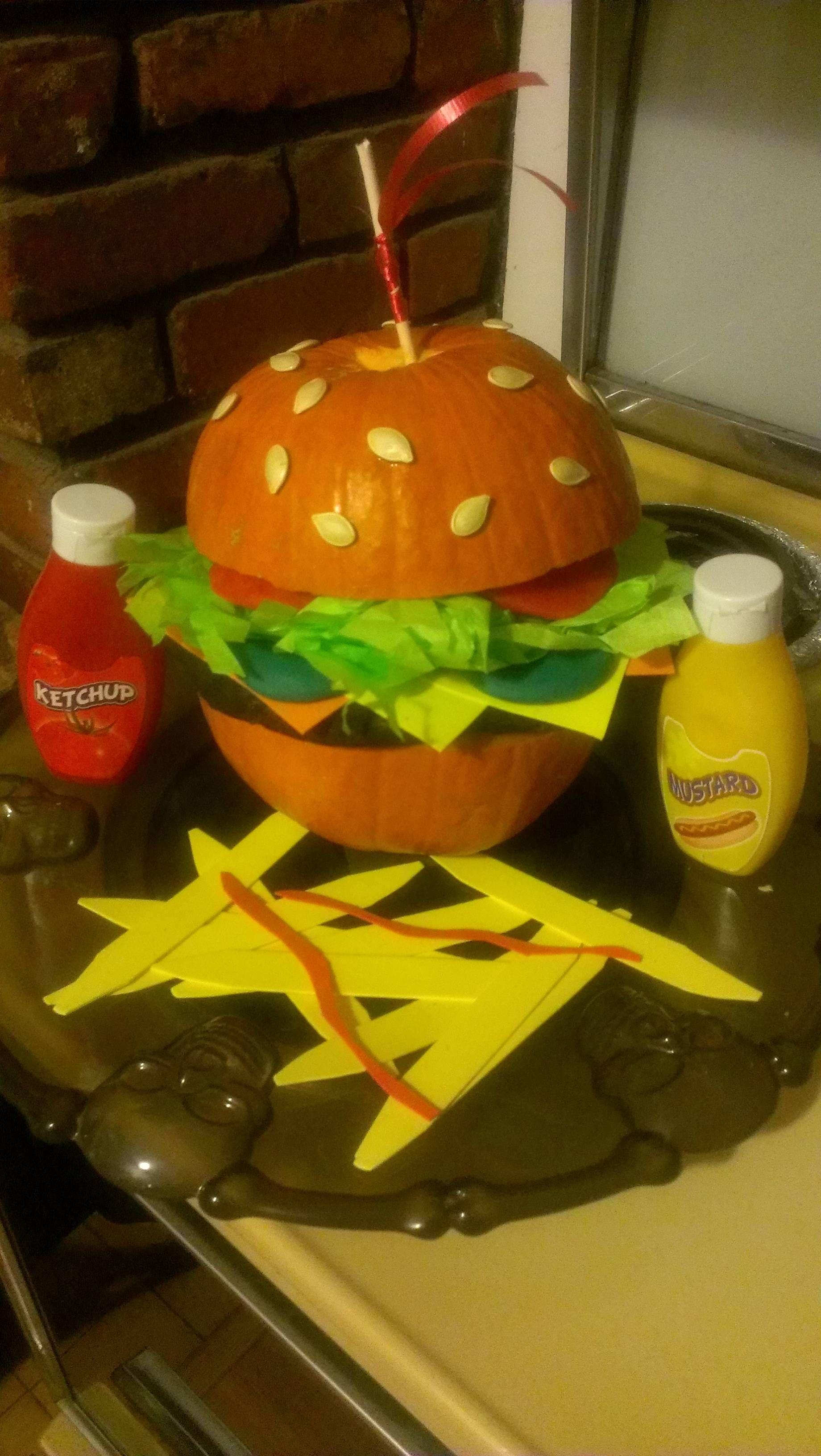 pumpkin burger  my fianc u00e9 u2019s entry into the pumpkin decorating contest at her work u2026