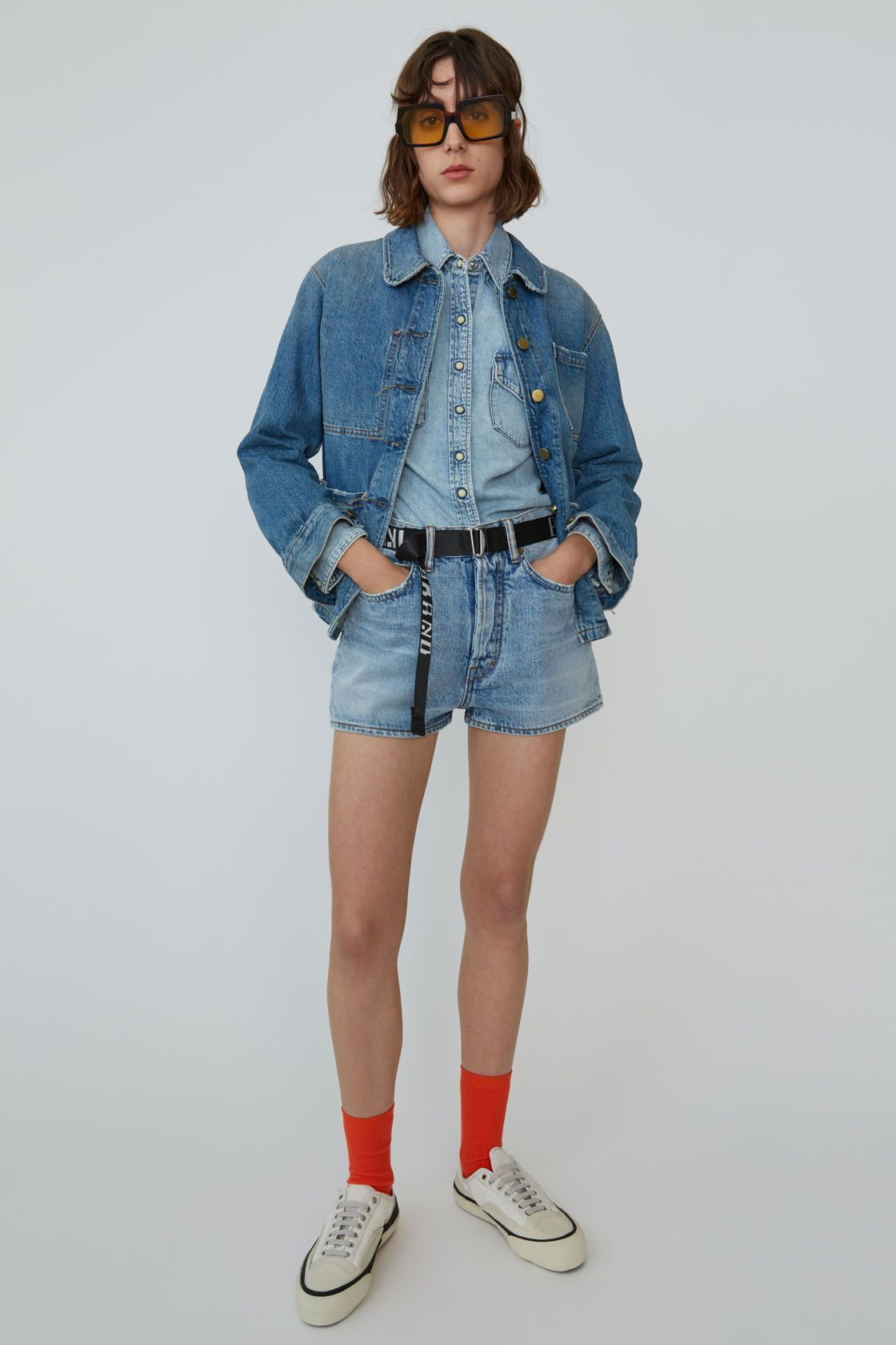 Denim shorts light blue $220 #lightblueshorts Acne Studios - Denim shorts Light blue #lightblueshorts