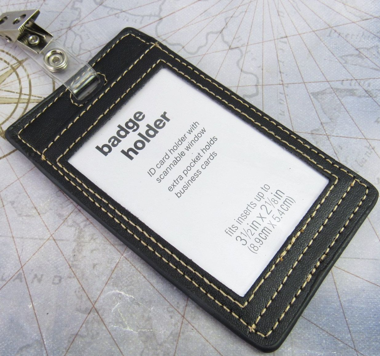 Black Faux Leather Badge Holder, ID Holder, Badge Pocket, Business ...