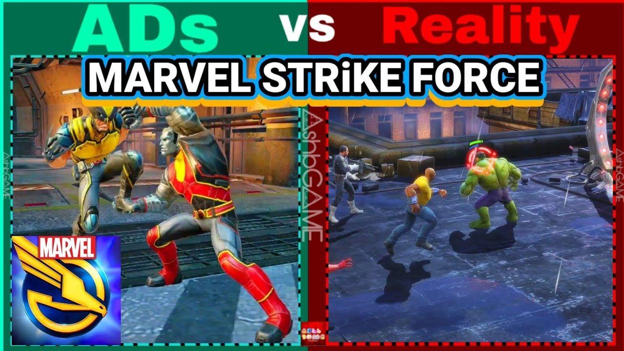 Game Ads Vs Reality Marvel Strike Force 2 https