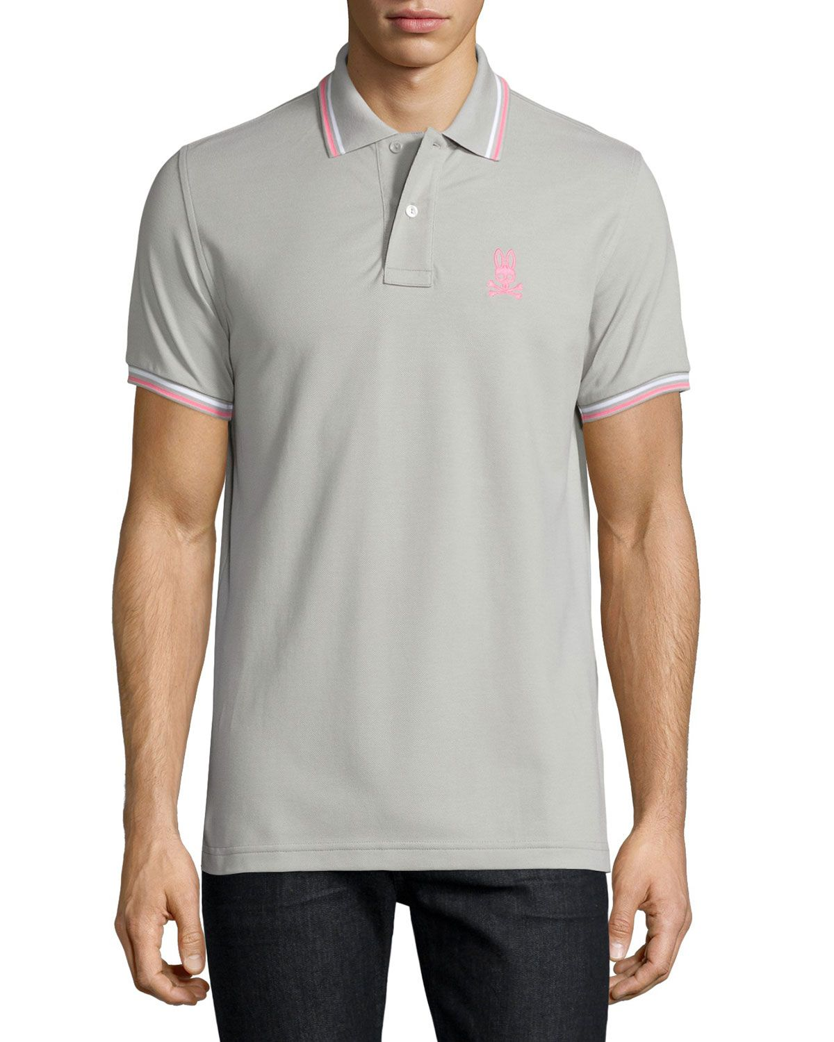 Psycho Bunny Classic Polo Shirt with Contrast Trim, Light Grey, Lgy