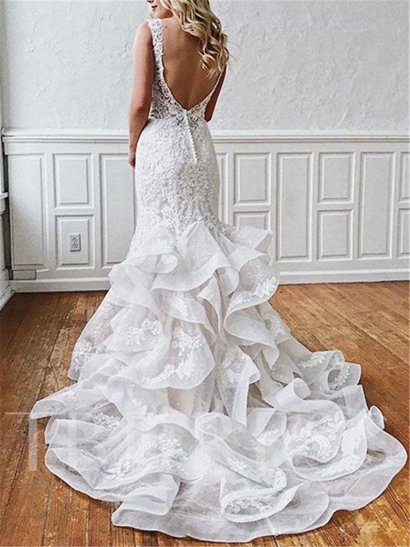 Open Back Ruffles Appliques Mermaid Wedding Dress 2021 Backless Lace Wedding Dress Backless Wedding Dress Backless Mermaid Wedding Dresses [ 1120 x 840 Pixel ]