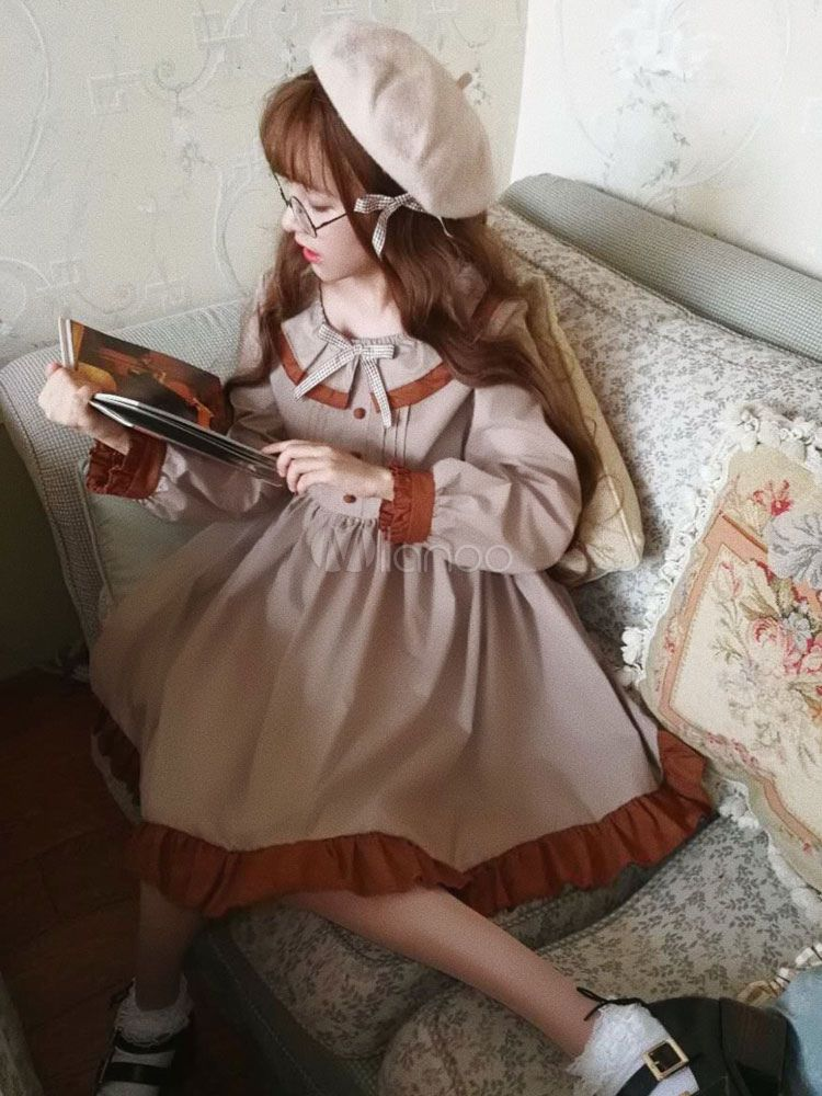 a49d8b0b89b5 Classic Lolita OP One Piece Dress Khaki Scoop Neck Long Sleeve Two Tone  Bows Lolita Dresses  Piece