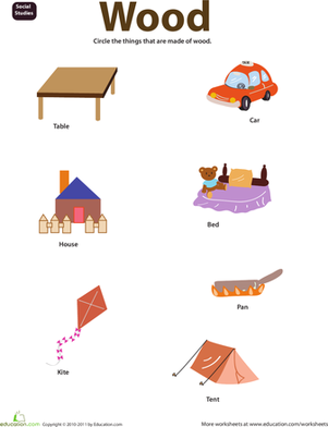 Things Made Of Wood Science For Kids Kids Math Worksheets Made Of Wood