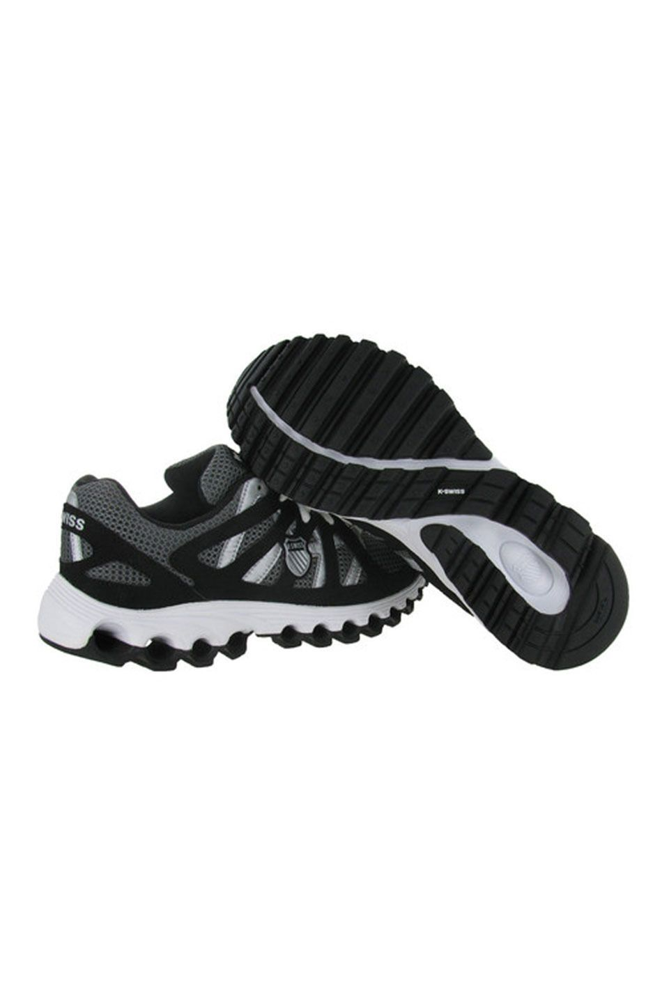 Tubes Run 110 Shoe in Gray and Black The Tubes Run 110 by K-Swiss shoes feature breathable mesh synthetic uppers with criss cross overlays; Lace up closure; K-Swiss logo on tongue and heel; Cushioned insole; Treaded tubbed outsole Men #Shoes