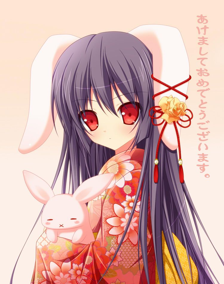 Cute Anime Rabbit Girl In Kimono