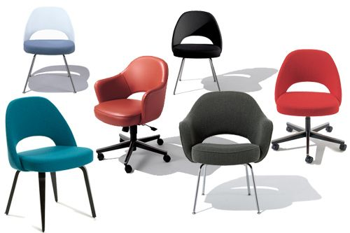 Saarinen side chairs, come in a zillion colors too!