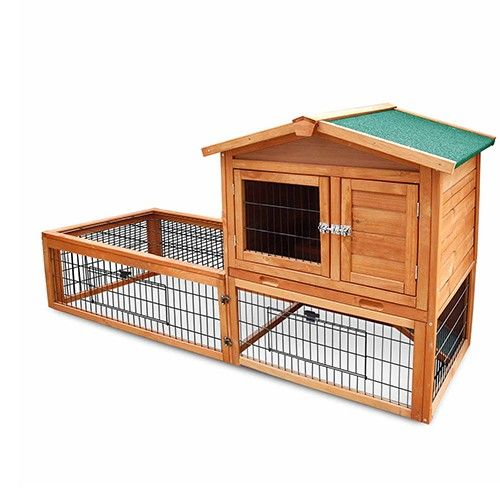 2 Storey Rabbit Hutch Wooden Cage Bunny Guinea Pig Pet Supplies w/ Built-in Ramp