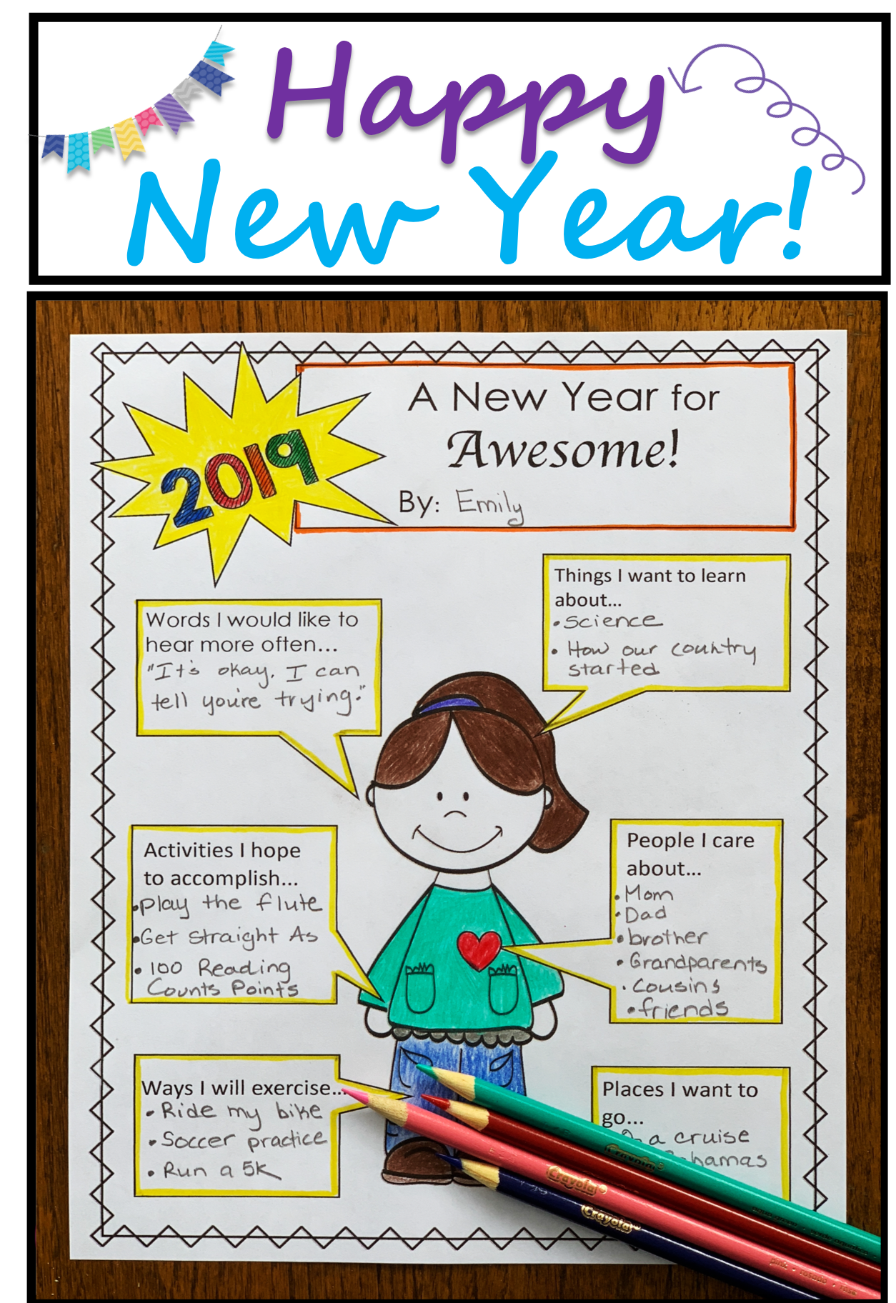Kids Love Sharing Their New Years Goals And Resolutions This Resource Is A Great New Years Activities First Day Of School Activities 4th Grade Writing Prompts [ 1824 x 1254 Pixel ]