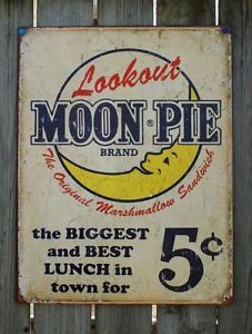 Garage Decor Signs New Lookout Moon Pie Ad Tin Sign Garage Vintage Style Home Country Inspiration