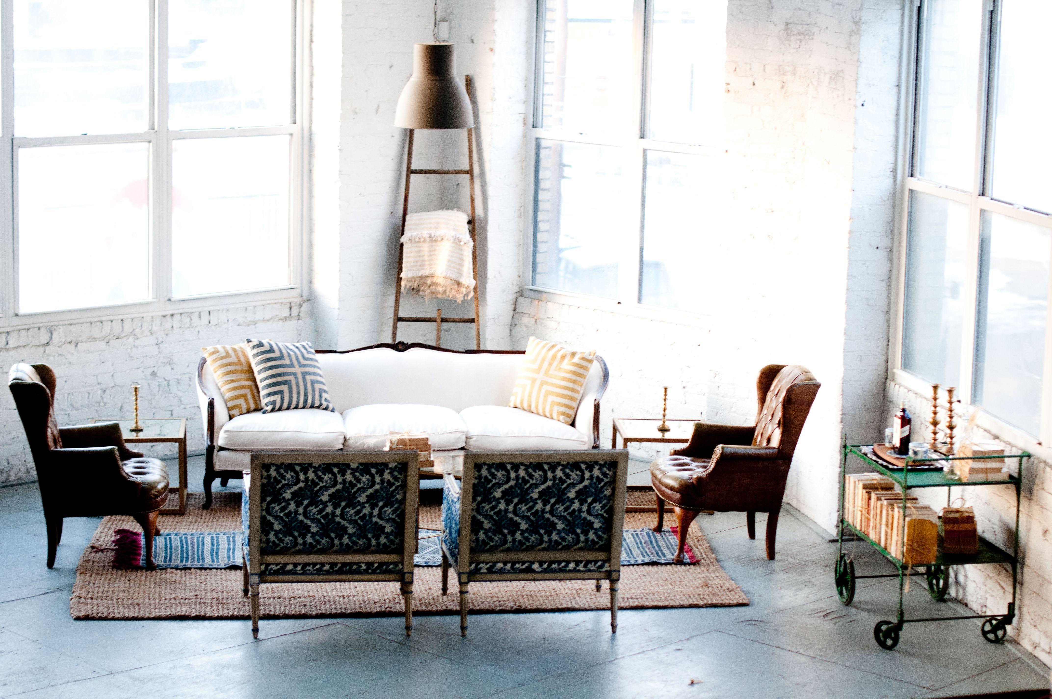 The Jack White sofa looks so cozy in the back corner of our studio ...