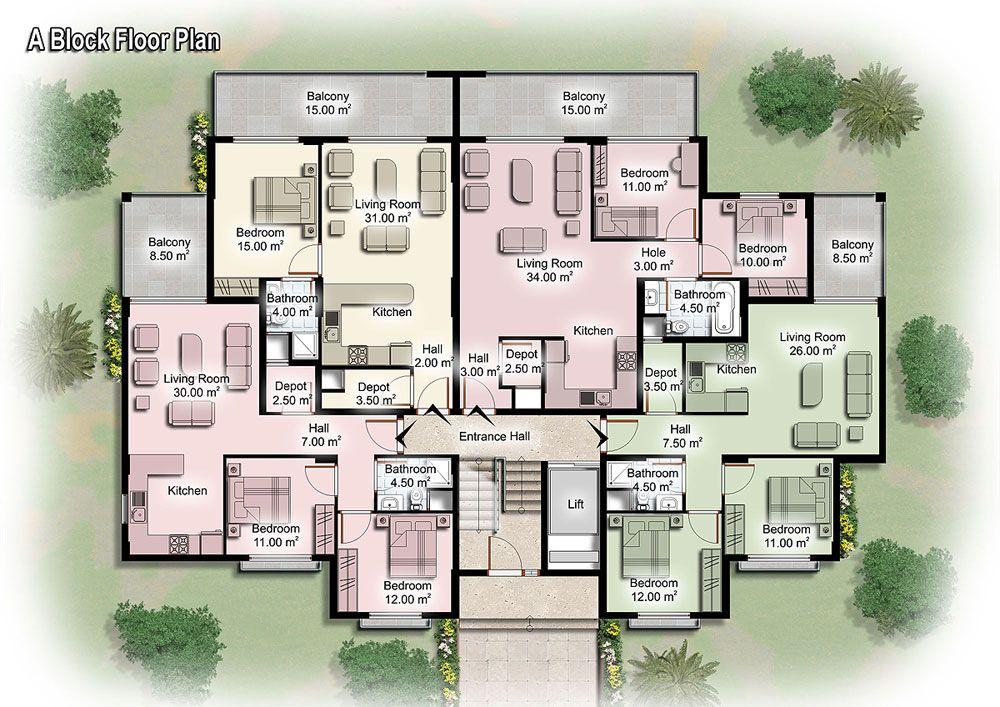Apartment floor plans block floor plan c block floor for Apartment block floor plans