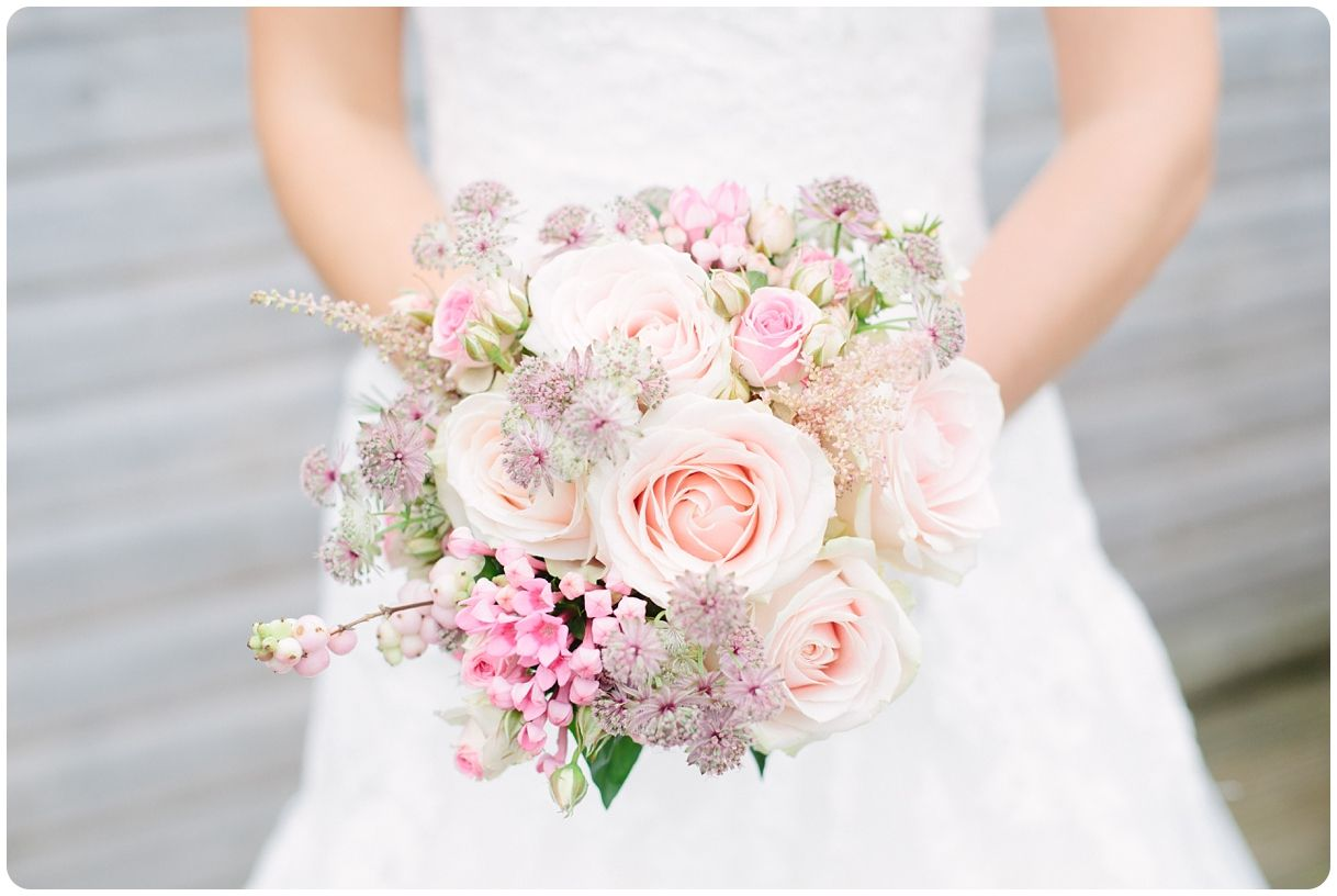Beautiful blushing bouquet from Claire and Simon's wedding at Careys Manor Hotel.