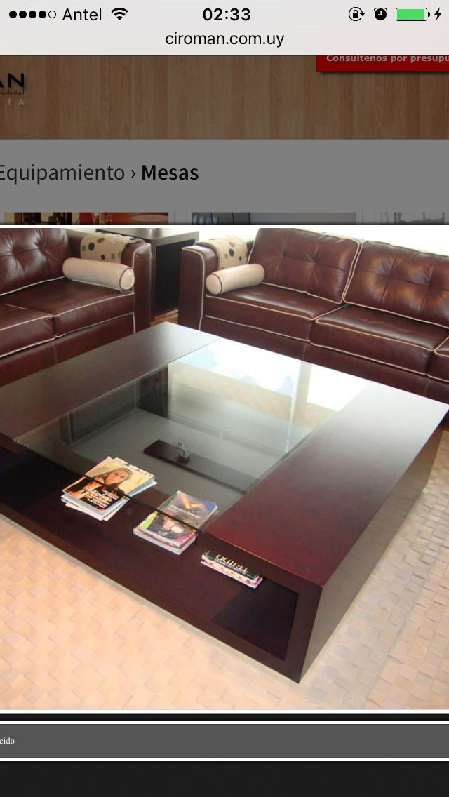 Mesa ratona en madera y vidrio Mesas de sala Pinterest Vidrio