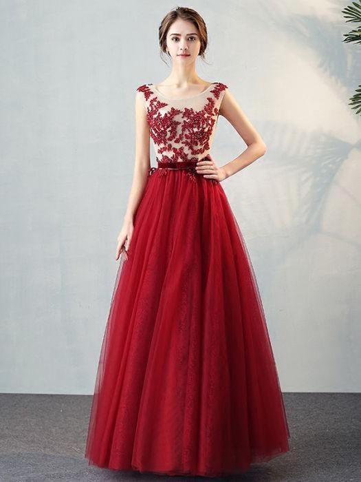 716c443bd Chic A-line Scoop Burgundy Tulle Applique Modest Prom Dress Evening Dress  AM359 Dress Prom