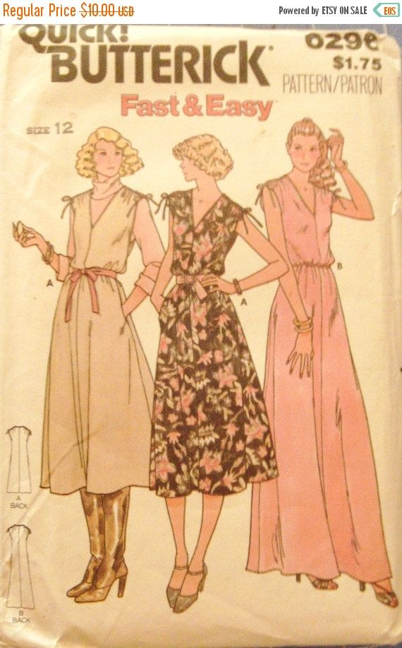 40 Off Sale Vintage Sewing Pattern Butterick 6296 Misses Dress Or