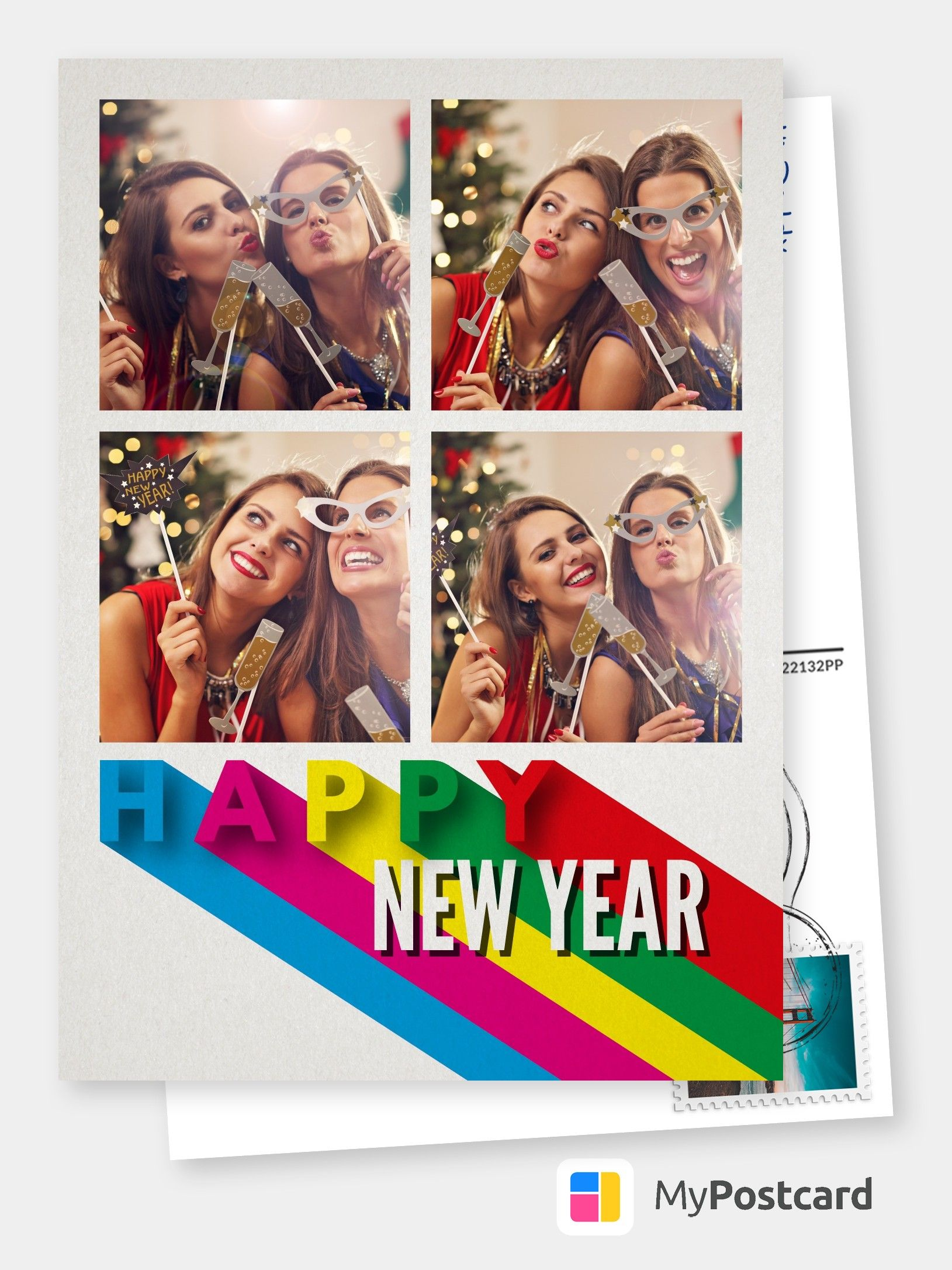 Happy New Year! Happy New Year Cards | Happy New Year Wallpaper | Happy New Year Cards Ideas | Happy New Year Cards Illustration | Happy New Year Greetings | Happy New Year Greetings Card | Happy New Year Greetings Quotes | Happy New Year Greetings Inspiration. Costumizable New years greeting card with lettering in rainbow colors. #happynewyear #newyearseve #newyear #greetings #postcard