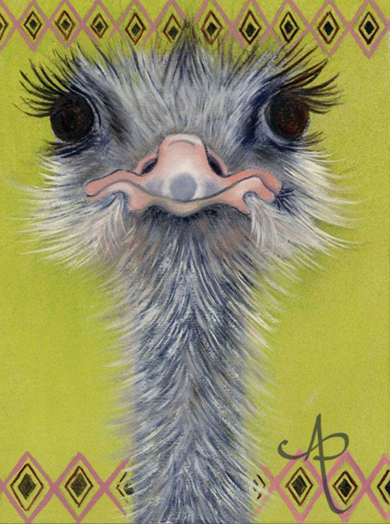 Bobo the Ostrich - Art Print from Original Oil by AnnaPolkowska, $15.00 (Ostrich Painting)