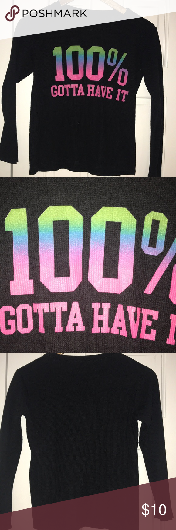 "Girls Thermal ""100% Gotta to Have It"" Graphic Top Girls size 14  Long Sleeve Black Thermal Top Rainbow "" 100% Gotta Have It"" Graphic  Like New Condition Shirts & Tops #gottahaveit Girls Thermal ""100% Gotta to Have It"" Graphic Top Girls size 14  Long Sleeve Black Thermal Top Rainbow "" 100% Gotta Have It"" Graphic  Like New Condition Shirts & Tops #gottahaveit"