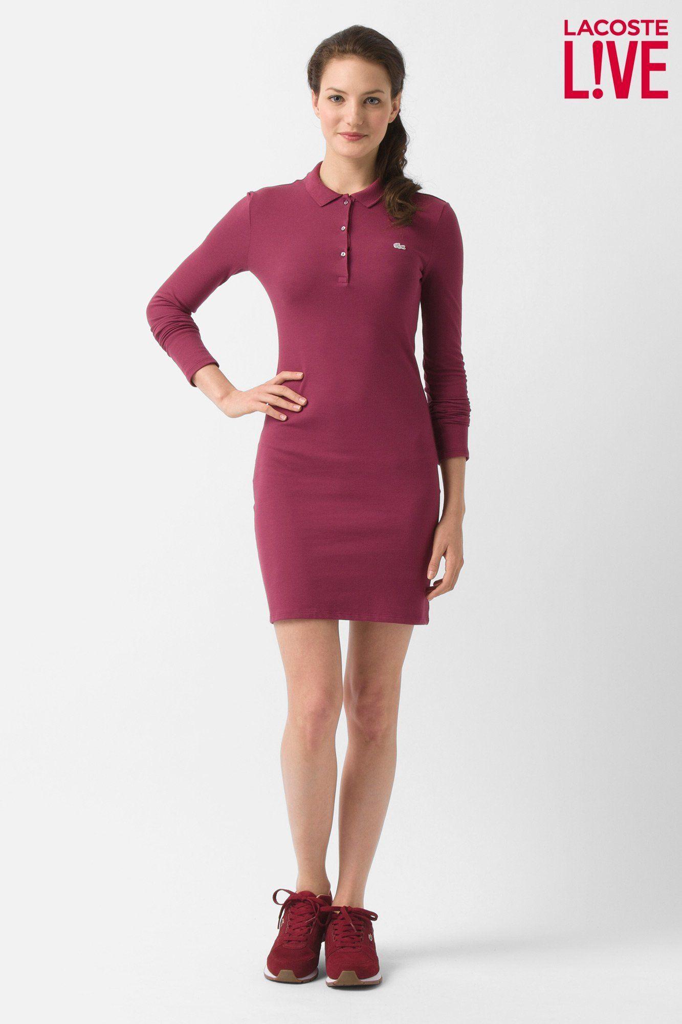 d3a13be60 Lacoste L!ve Long Sleeve Pique Polo Dress   Dresses