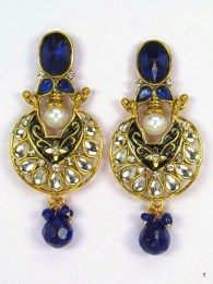 Blue Stones Attractive Gold Plating Earrings