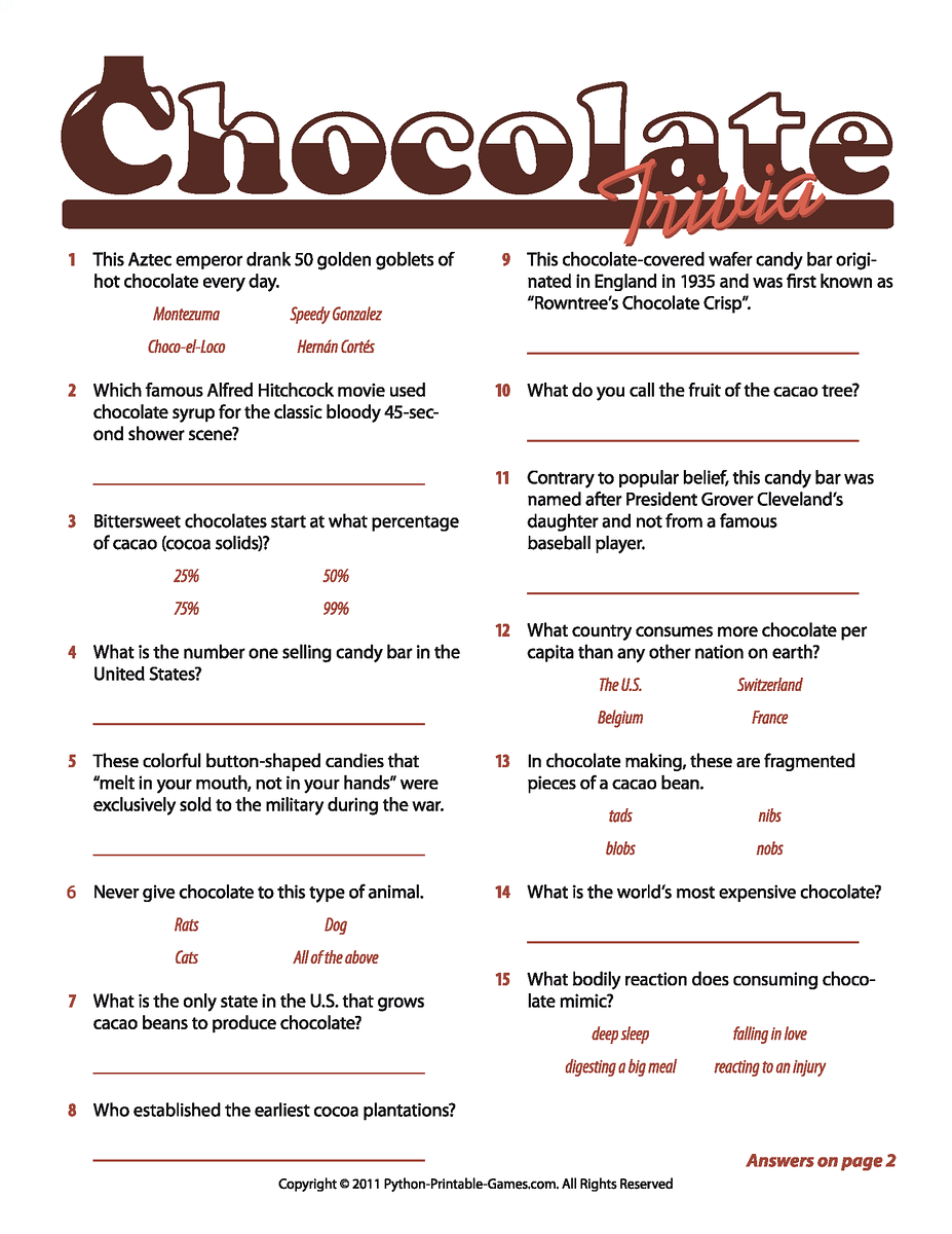 Chocolate Facts Trivia game -- make an easier one for the 8-year-