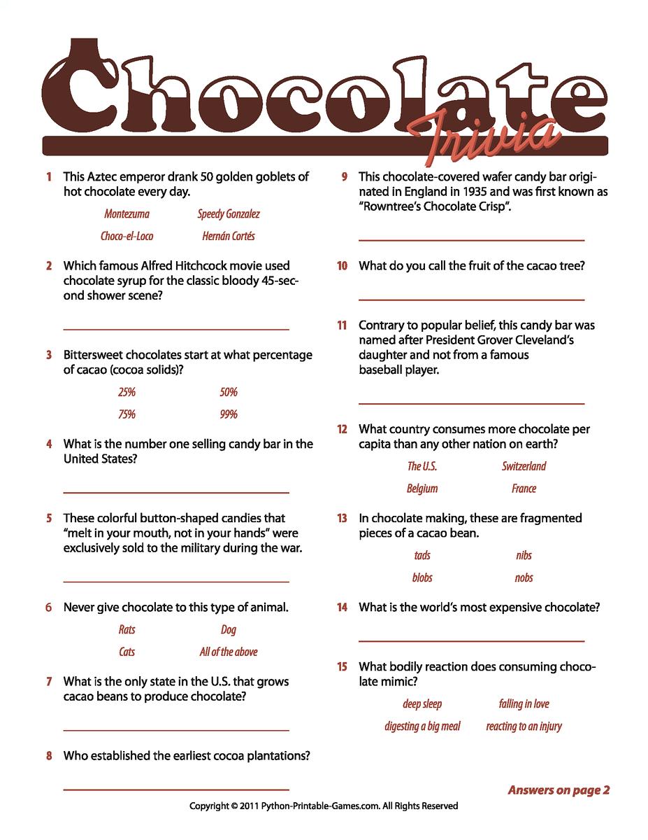 Chocolate Facts Trivia Game! Trivia for seniors, Trivia