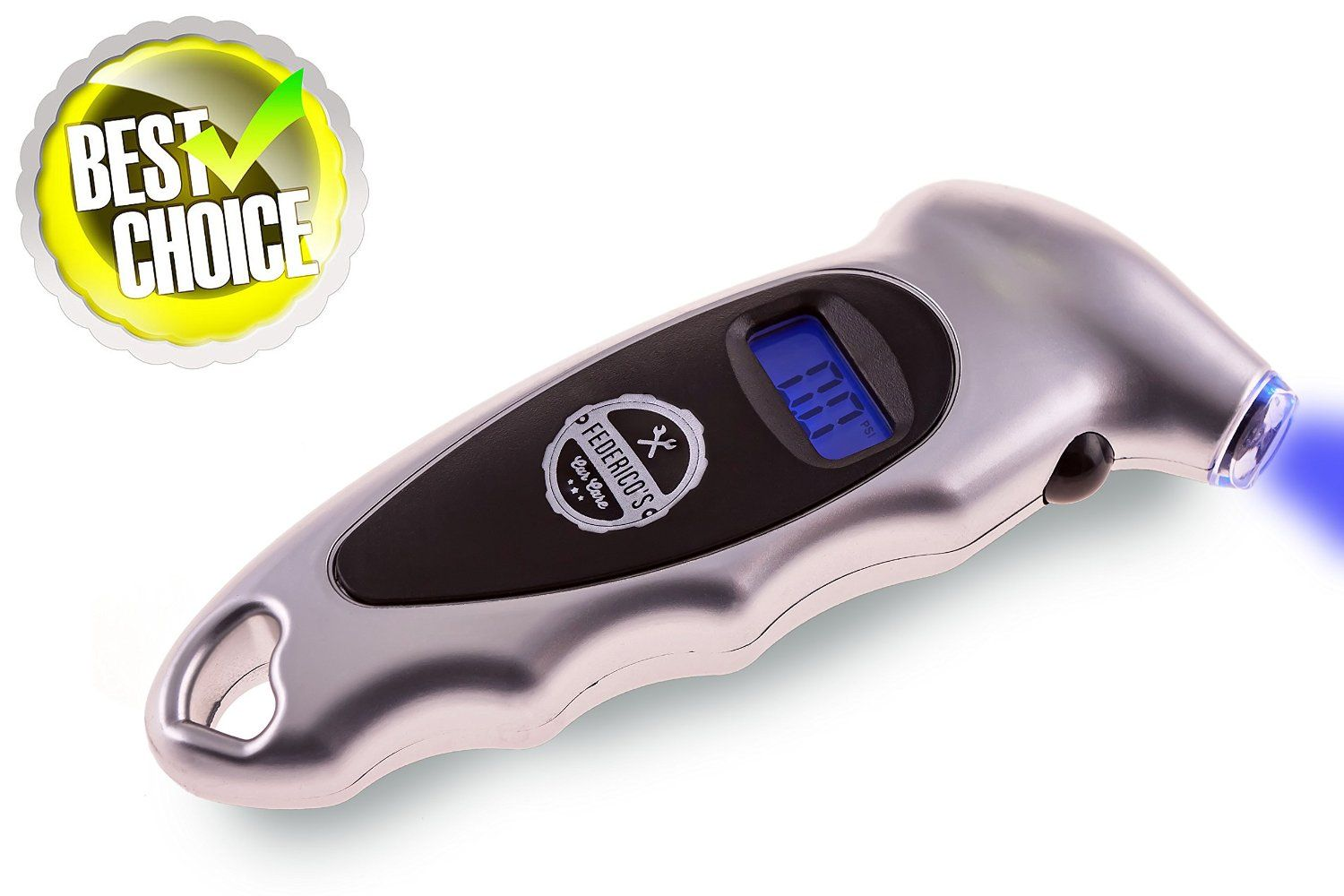 Roll over image to zoom in      Digital Tire Pressure Gauge for Your Car, Truck, Motorcycle, or Bicycle - Lighted Tip and LCD Displays Air Pressure Easy and Hassle Free