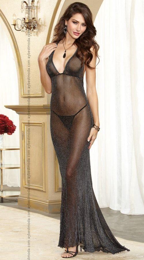 Transparan Sirt Dekolteli Gece Elbisesi Abm4838 Aybestmoda Moda Stilleri Gecelikler Kadin Ic Giyim