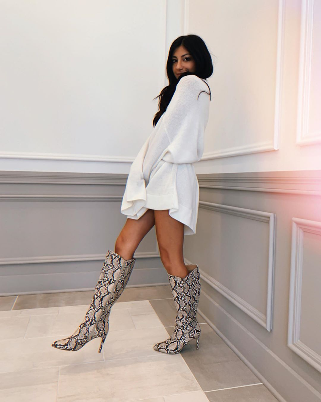fall outfit inspo sweater dress + snakeskin boots