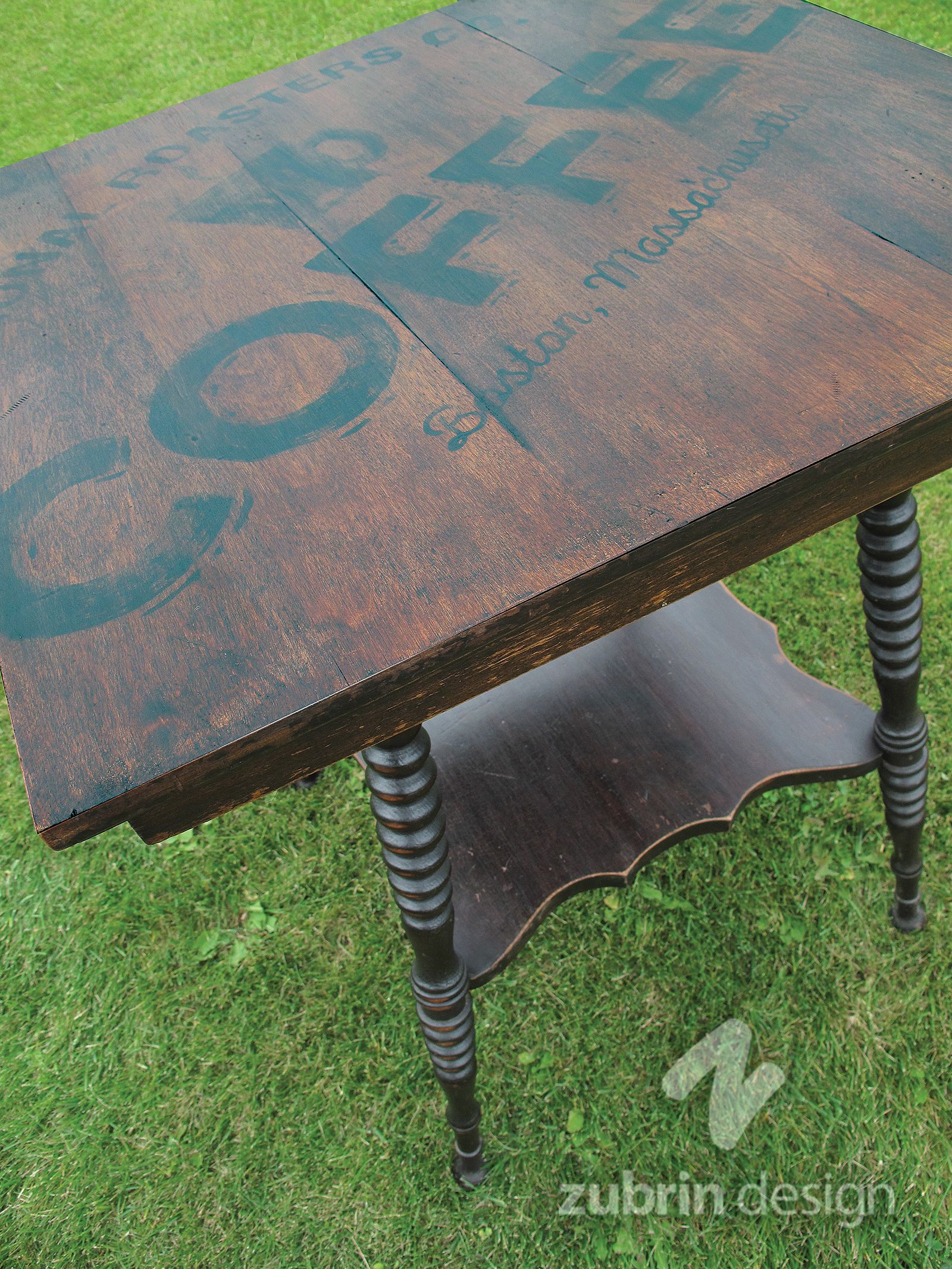 3 Foot High Parlour Table With A 2 Square Top I Came Up My Own Coffee Brand And Painted It On Black Acrylic Paint Dark Stain