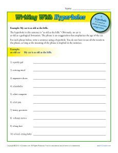 Writing With Hyperboles | Hyperbole Worksheets | Grammar and ...
