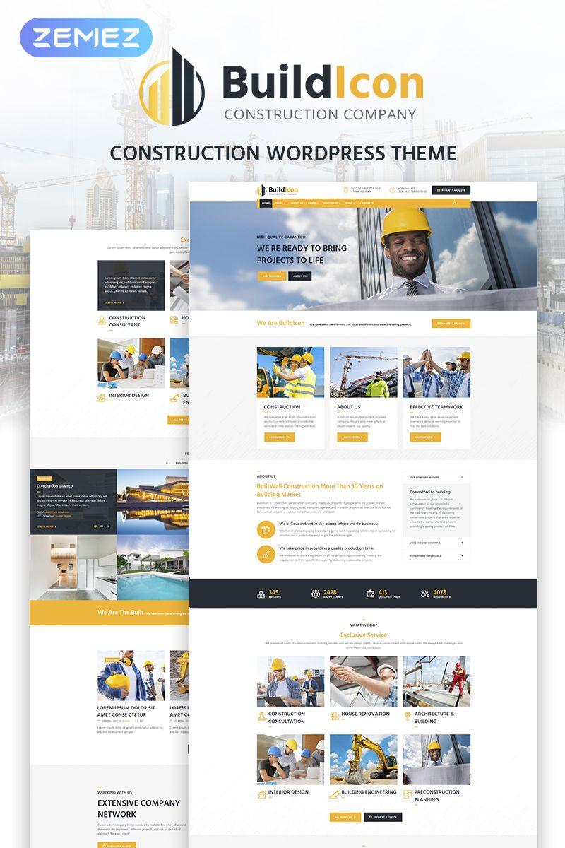 Buildicon Construction Company Wordpress Theme Design Bundle