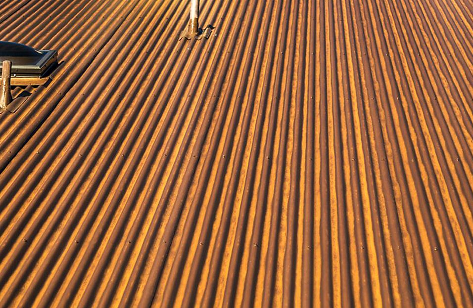 Streaked Rust Painted To Look Like Real Corten Corrugated Roofing Roof Panels Corten