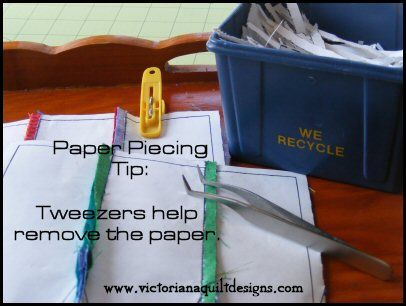 Paper Piecing Tip: Tweezers help remove the paper. If you can find these pointy kind (medical supply) they work great for getting into those tiny angles and popping out the paper! Something to add to your quilting tools! http://www.victorianaquiltdesigns.com/ #quilting