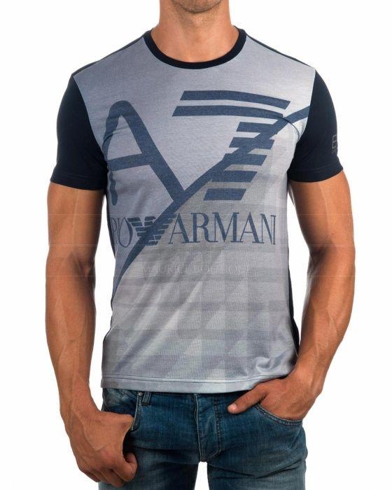 Camiseta Emporio Armani EA7 - Azul Marino   Gris  e4c0db38ef18d