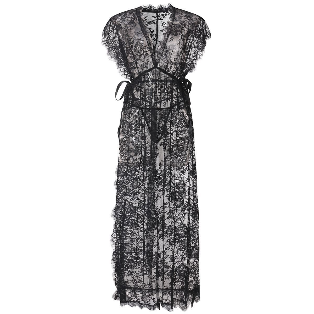 44a6feaa2cd6 2016 Black Lace Women Sleepwear Dress Hot Underwear Transparent Sexy  Nightclub Party Maxi Long Dress Robe High Side Slit Vestido