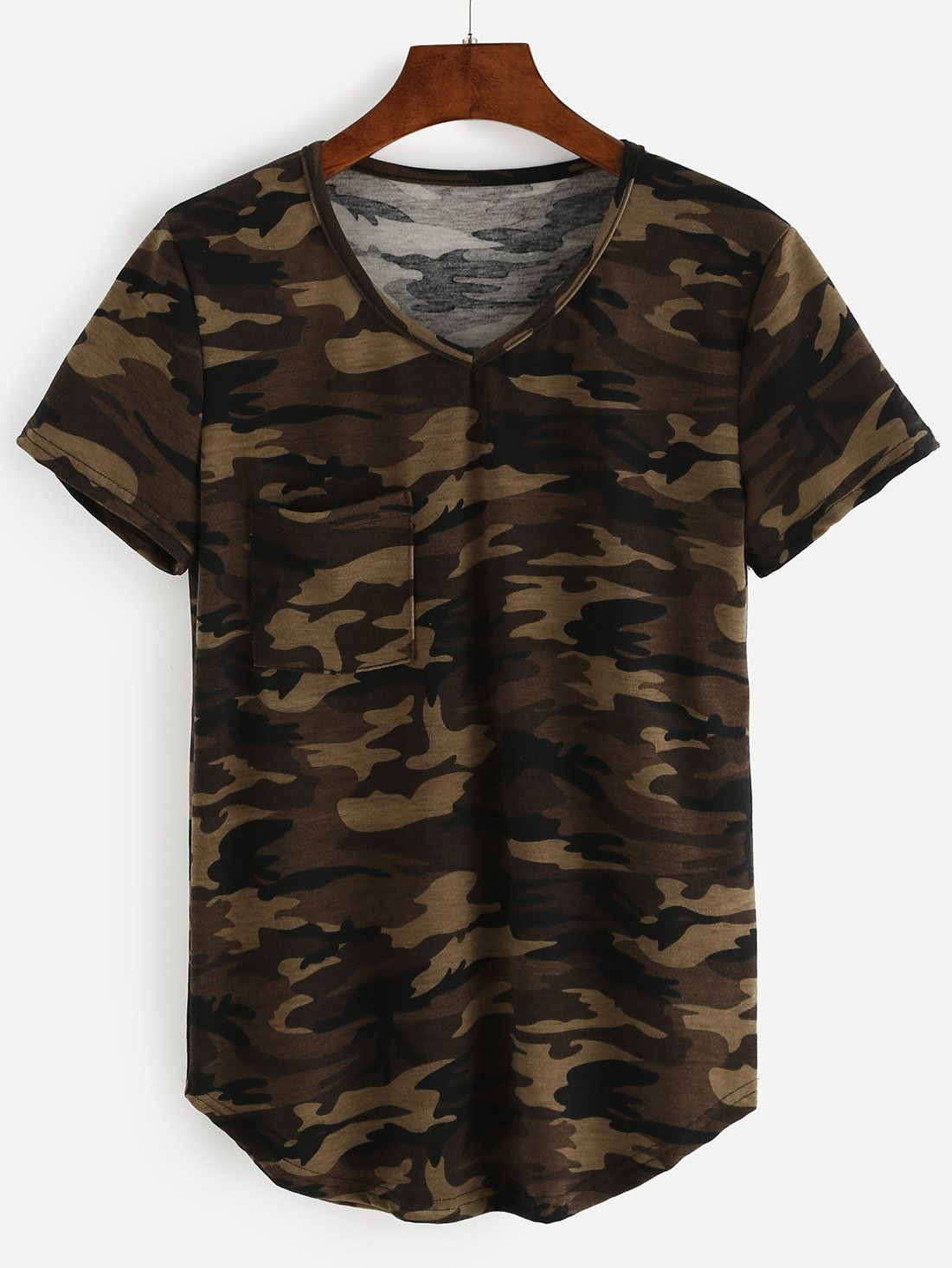 1f91a9e2adcf7c CURVED CAMO. CURVED CAMO Green Pattern, Olive Green, Romwe, V Neck T Shirt  ...