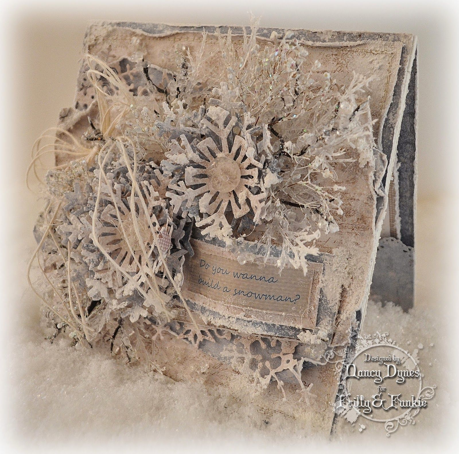Tattered Treasures: Winter Wishes Card using Tim Holtz, Ranger, Sizzix, Maja, Memory Box and Dina Wakley products; Jan 2015