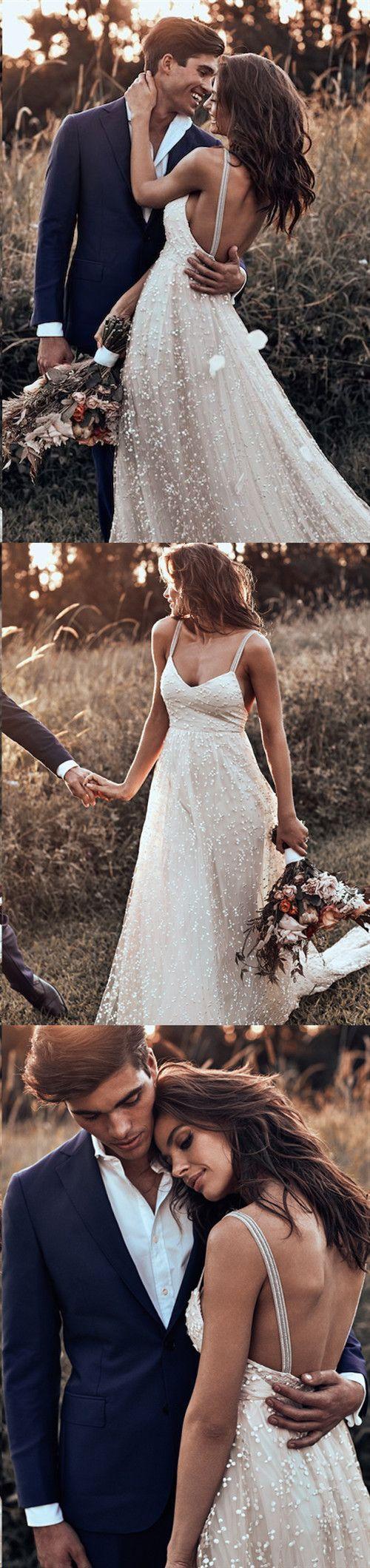 Sparkly Wedding Dress Sexy rückenfreie Spaghetti-Träger Rustikale Brautkleider JKL238 – Brautkleider