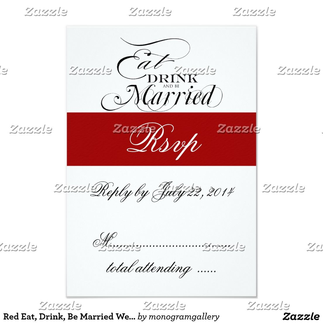 Red Eat, Drink, Be Married Wedding RSVP Card | Zazzle invitations ...