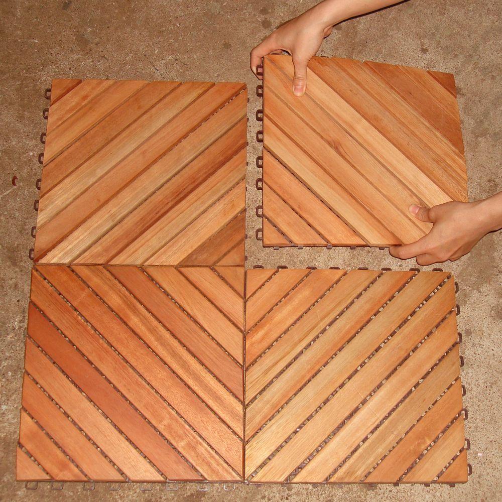 Vifah Roch 12 Diagonal Slat Style Hardwood Deck Tile