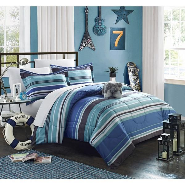Boys Blue Modern Stripes Stripe Comforter Sheets Bed In A