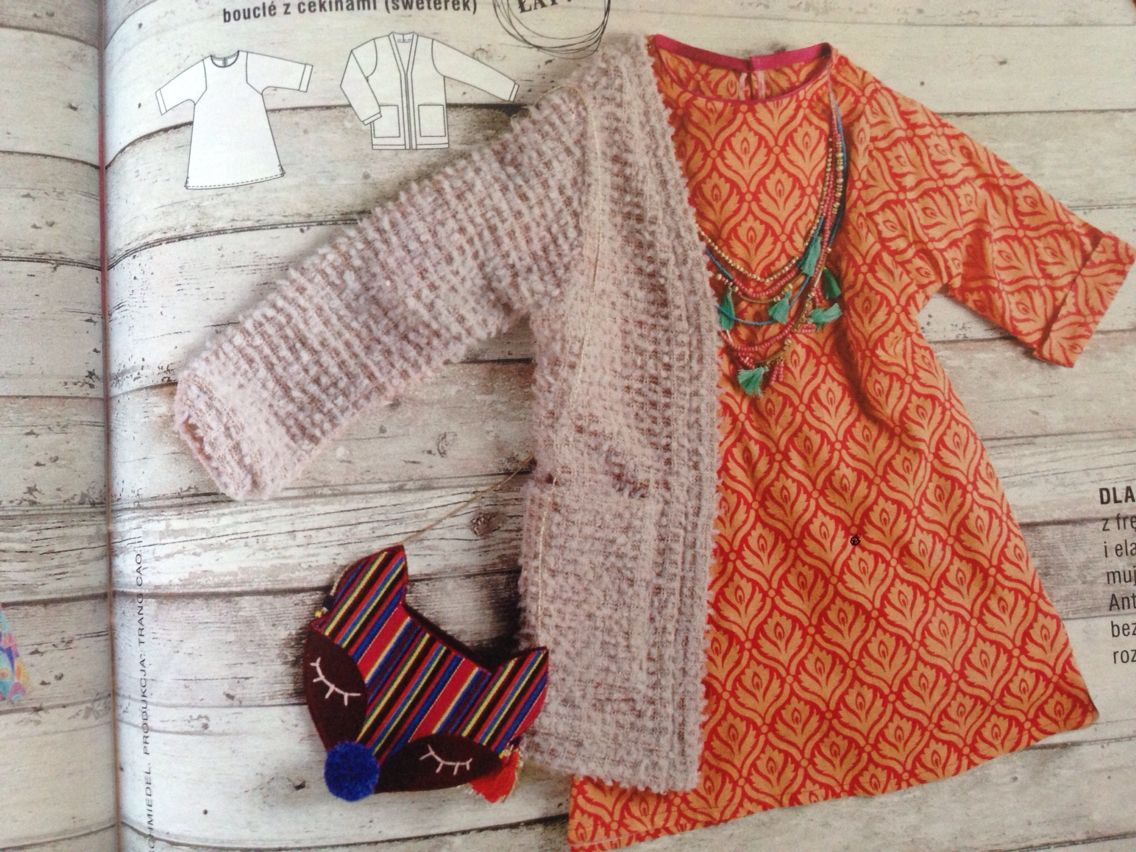 Little boho dress and a cardigan for girl /  Burda PL nr 8/2015